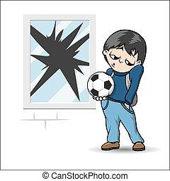 niño, pelota del fútbol