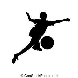 niño, pelota del fútbol, (isolated), footballer.