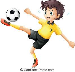 niño, pelota del fútbol, patear