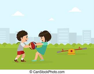 niño, pelota, ilustración, malo, vector, lucha, entre, niña...