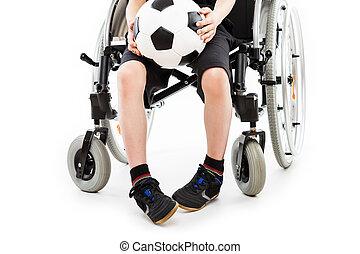 niño, pelota, sentado, sílla de ruedas, incapacitado, sostener a niño, futbol