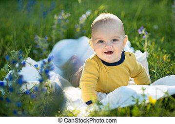 niño pequeño, acostado, en, un, pañal, el, pasto o césped