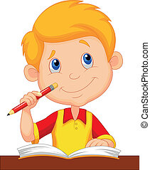 niño pequeño, caricatura, estudiar