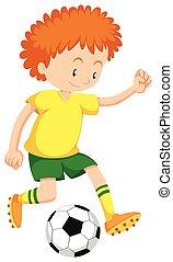 niño pequeño, jugar al fútbol