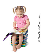niño pequeño, leer un libro