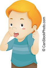 niño pequeño, orejas, cubierta, el suyo
