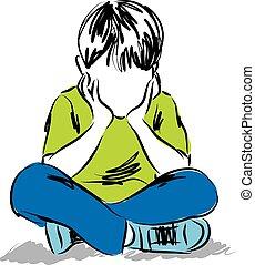 niño pequeño, pensamiento, ilustración