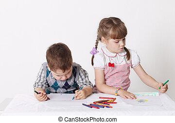 niño pequeño, y, niña, empate, con, carboncillos, sentar mesa
