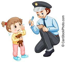 niño, perdido, grabación, policía
