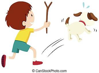 niño, perseguir, perro, medio