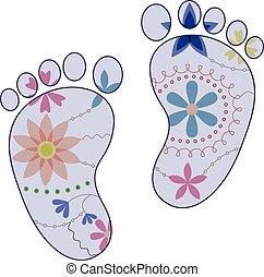 niño, pintado, vendimia, pies, siluetas, bebé