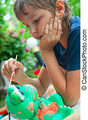 niño, pintura, cepillo