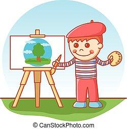 niño, pintura
