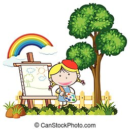 niño, pintura, en, un, hermoso, día