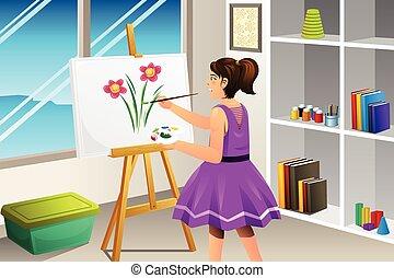 niño, pintura, en, un, lona