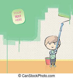 niño, pintura, la pared