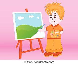 niño, pintura, un, paisaje