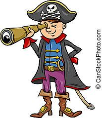 niño, pirata, ilustración, caricatura