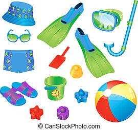 niño, playa, accesorios
