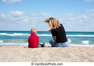niño, playa, madre