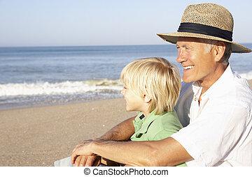 niño, playa, relajante, aduelo