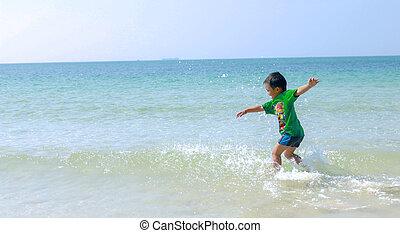 niño, playa