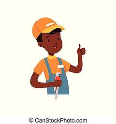 niño, plomero, carácter, ilustración, uniforme, norteamericano, vector, llave inglesa, africano