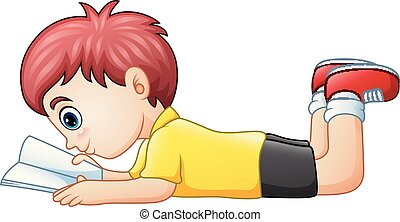 niño, poco, abajo, libro, lectura, acostado
