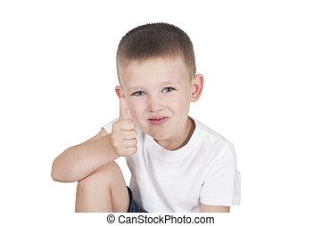 niño, poco, actuación, arriba, pulgares, feliz