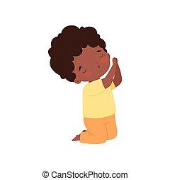 niño, poco, africano, carácter, ilustración, arrodillar, norteamericano, vector, oración, caricatura