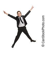 niño, poco, aislado, formalwear, alegre, mientras, saltar, ...
