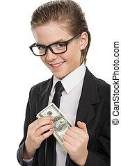 niño, poco, alegre, dinero, aislado, formalwear, bolsillo, ...