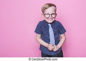 niño, poco, anteojos, corbata