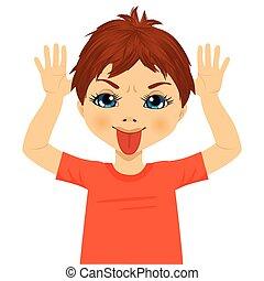 niño, poco, burlón, manos, elaboración, expresión