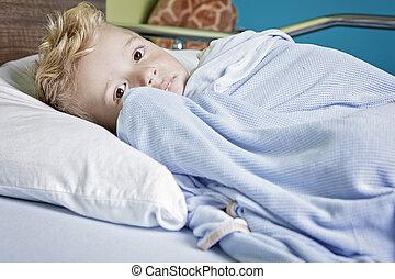 niño, poco, cama del hospital, enfermo