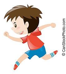 niño, poco, camisa, corriente, solamente, rojo