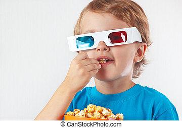 niño, poco, comida, estéreo, palomitas, anteojos