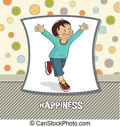 niño, poco, corre, feliz