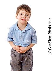 niño, poco, dolor estómago