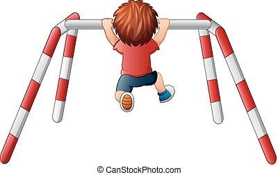 niño, poco, ejercicio, pare, travesaño