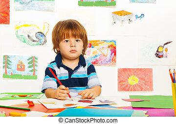 niño, poco, el bosquejar