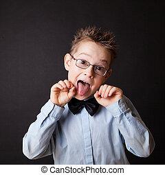 niño, poco, el suyo, actuación, lengua, feliz