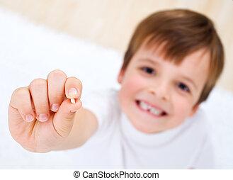 niño, poco, el suyo, actuación, mano, milk-tooth