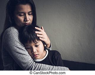 niño, poco, el suyo, amor, ser, paternidad, concept., triste...