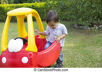 niño, poco, el suyo, conducción, juguete, feliz