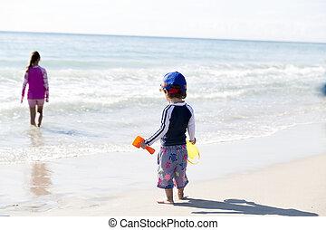 niño, poco, el suyo, hermana, playa, feliz