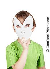 niño, poco, el suyo, teatral, máscara, cara, camiseta, atrás...