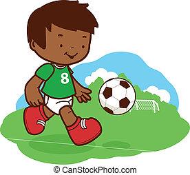niño, poco, fútbol, ilustración, cortar, vector, field., ...