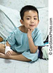niño, poco, hospital, enfermo, bed.