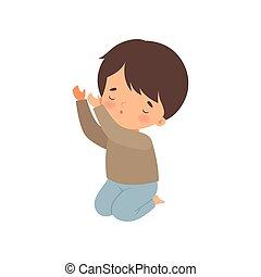 niño, poco, ilustración, arrodillar, vector, rezando, caricatura